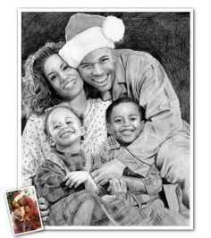 A beautiful hand drawn pencil sketch of your family that you can use on all of your cards this year! Beautiful Pencil Sketches, Cool Sketches, Drawing Sketches, Pencil Drawings, Portraits From Photos, Family Portraits, Pencil Sketch Portrait, Family Portrait Painting, Sketch Paper