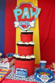 Cupcakes at a Paw Patrol birthday party! See more party planning ideas at CatchMyParty.com!