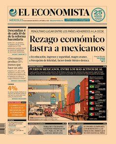 """""""Rezago económico lastra a mexicanos """". Portada de nuestra edición impresa. Martes 6 de noviembre 2013."""