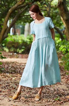 tunic dress maxi linen dress pale blue dress linen