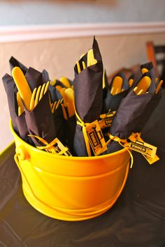 "Construction Theme Party...Wrap the utensils in a napkin and tie it with ribbon and a ""Tools"" label"