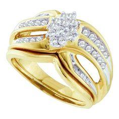 1/2CT-Diamond CLUSTER BRIDAL SET