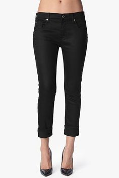Relaxed Skinny in Slick Black Denim #7FAM