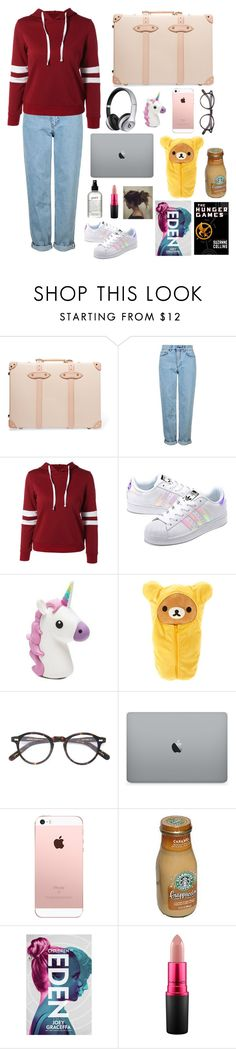"""""""My plane Survival Kit"""" by vanillabeanlover ❤ liked on Polyvore featuring Globe-Trotter, Topshop, adidas Originals, Beats by Dr. Dre, Moscot, MAC Cosmetics and philosophy"""