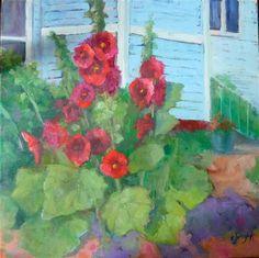 "Daily Paintworks - ""Hollyhocks"" - Original Fine Art for Sale - © Carol Josefiak"