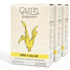Quinn Popcorn: Microwave Popcorn Butter and Sea Salt, 6.9 oz (3 pack) - http://goodvibeorganics.com/quinn-popcorn-microwave-popcorn-butter-and-sea-salt-6-9-oz-3-pack/