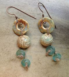 by Sheri Mallery Textured Ceramic Porcelain Bead Earrings by SheriMalleryHandwork.etsy.com   $42.00