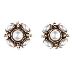 Women's Oscar De La Renta 'Classic Button' Stud Earrings (6.250 RUB) ❤ liked on Polyvore featuring jewelry, earrings, pearl, white pearl stud earrings, button jewelry, oscar de la renta jewelry, pearl jewellery and sparkly earrings