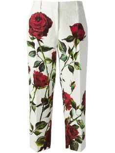 Dolce & Gabbana Rose Print Brocade Trousers - Parisi - Farfetch.com