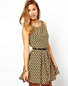 Glamorous Belted Skater Dress in Geo Diamond Print $49.25