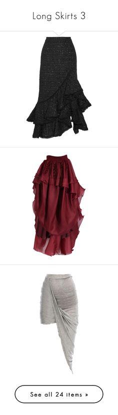 """Long Skirts 3"" by thesassystewart on Polyvore featuring skirts, black, ruffled skirt, erdem skirt, tiered skirt, flounce skirt, tweed skirt, bottoms, red hi low skirt and red silk skirt"