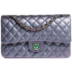 CHANEL Iridescent Goatskin Quilted Medium Flap Purple ❤ liked on Polyvore featuring bags, handbags, shoulder bags, chain shoulder bag, purple purse, chanel, blue shoulder bag and blue purse