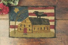 Flag,house,crow.  Love the colors used.