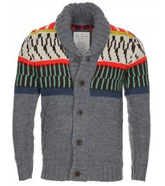 We love the bright pattern on the shoulders of this knit! Mens Clothing Sale, Knit Cardigan, Top Sales, Knits, Two By Two, Men Sweater, Bright, Colour, Accessories