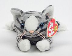 Purrrrrfect gray, playful, fun, meet delightful Prance the cat Rare Beanie Babies, Original Beanie Babies, Beanie Boos, Bean Bag Toys, Beanie Buddies, Cute Beanies, 90s Childhood, Baby Cats, My New Room