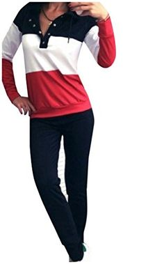 4ecdc276 ANDYOU Women's Splice Comfort Soft Pullover Sleeves Tracksuit Jog Set Red S