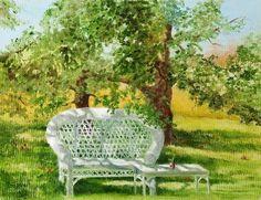 Under The Apple Tree © Barbara Hipwell Mommie Dearest, Apple Tree, Outdoor Furniture, Outdoor Decor, Art Studios, Wicker, Art Gallery, Prints, Image