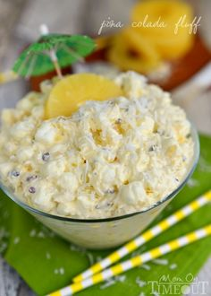 Pina Colada Fluff — I made this fluff with pineapple, coconut, vanilla pudding mix, marshmallows, & pecans (totally optional). Bring that tropical feeling home! An incredibly easy & delicious dessert salad! Fruit Recipes, New Recipes, Dessert Recipes, Cooking Recipes, Favorite Recipes, Recipies, Dessert Salads, Jello Salads, Creamy Fruit Salads