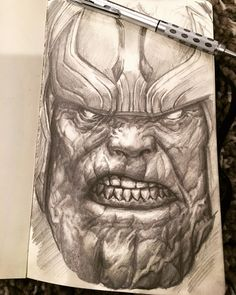 Here's where I landed on my #thanos #drawing. I think I'm going to work on a Tetsuo pic next based in the votes from last post. Thanks guys! #artforfun #moleskine #gotg #guardiansofthegalaxy #marvelcomics #comicsforlife #akira #tetsuo