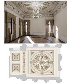 Image may contain: indoor Ceiling Art, Ceiling Design, Interior And Exterior, Interior Design, Classic Interior, Classical Architecture, Rococo, Wrought Iron, Indoor