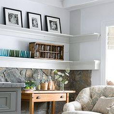 A fellow Pinner wrote: Use corner space by wrapping a picture ledge around two walls. Use the shelves to display photos and dishes. A vintage wine or soda crate doubles storage capacity by holding pretty glassware, candles, or CDs