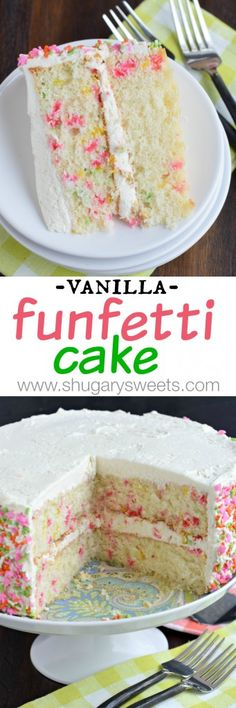 Delicious, from scratch, Vanilla Funfetti Cake! One bite of this moist cake and you'll be convinced it's the best! Cake for lady Just Desserts, Delicious Desserts, Yummy Food, Sweet Recipes, Cake Recipes, Dessert Recipes, Cupcakes, Cupcake Cakes, Yummy Treats