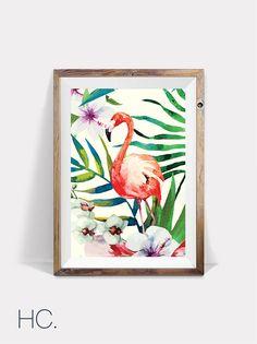 Pink Flamingo Print, Tropical Wall Art, Printable Flamingo, Tropical Decor, Tropical Flamingo Poster, Tropical Bird Print, Pink Flamingo Art