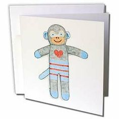 Laura J Holman Art Sock Monkey - Sock Monkey toy monkey kid s toy cuddly cute heart illustration blue child - Greeting Cards-6 Greeting Cards with envelopes by Laura J Holman. $10.49. Sock Monkey toy monkey kid s toy cuddly cute heart illustration blue child Greeting Card is measuring 5.5w x 5.5h. Greeting Cards are sold in sets of 6 or 12. Give these fun cards to your friends and family as gift cards, thank you notes, invitations or for any other occasion. Greeting Cards ar...