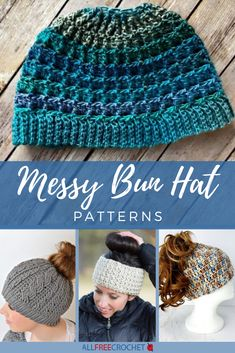 These crochet messy bun hat patterns come in all colors and yarn weights, from worsted weight to super bulky! Hold your ponytail with a new beanie. Crochet Winter Hats, Crochet Hats, Free Crochet, Hat Patterns, Crochet Patterns, Blanket Patterns, Crochet Hat For Beginners, Beginner Crochet, Crochet Beanie Pattern