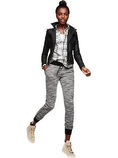 Officially wearing Stret Fleece joggers with everything. Including this Faux-Leather Moto jacket. | Old Navy