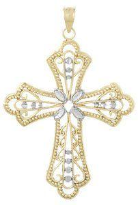 Amazon.com: Gold Religious Charm Pendant Cross W Filigree Cut-out Design ~ Beaded & D C Fram: Million Charms: Jewelry