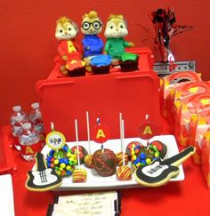 MKR Creations 's Birthday / Alvin and the Chipmunks - Photo Gallery at Catch My Party 6th Birthday Parties, 1st Boy Birthday, Birthday Ideas, Rock Star Party, Alvin And The Chipmunks, Cupcake Party, Alice, Party Items, First Birthdays