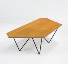 Luther Conover, Oak and Steel Coffee Table for Luther Conover Inc., c1950.