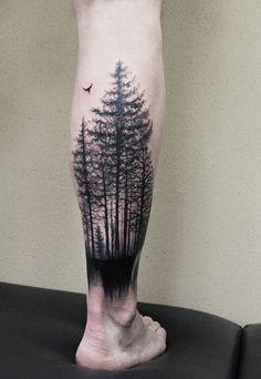 Tattoo Anya Olasyuk - tattoo's photo In the style Graphics, Male, Fore Tree Leg Tattoo, Forest Tattoo Sleeve, Nature Tattoo Sleeve, Nature Tattoos, Mens Leg Tattoo, Dark Forest Tattoo, Calf Tattoo Men, Car Tattoos, Forarm Tattoos
