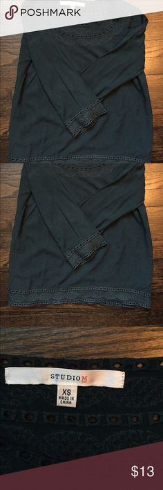 Long-sleeved dark green-blue blouse Good condition long sleeved dark blue green blouse with great detailing! Fits true to size Studio M Tops Blouses