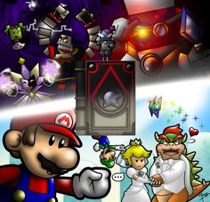 I wonder if Peach and Bowser got a divorce after this game.and I really hope that is the case. Super Mario Smash Bros, King Koopa, Paper Mario, Threes Game, Bowser, Peach, Fan Art, Coney Island, Anime