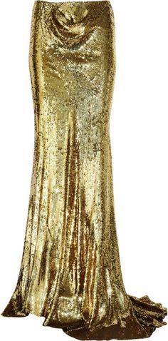 Liquid gold gorgeousness...  BALMAIN studio 54   Sequined Silk Maxi Skirt