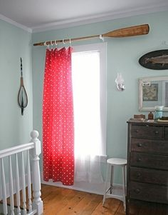 Oars paddle window treatment. This would have been awesome when I was decorating Jesse's room in Spongebob!