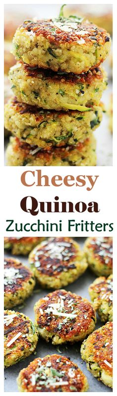 Garlicky & Cheesy Quinoa Zucchini Fritters - Packed with Quinoa and Zucchini, these Fritters are SO GOOD and SO easy to make!