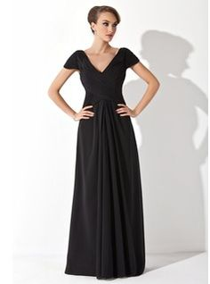 A-Line/Princess Off-the-Shoulder Floor-Length Chiffon Mother of the Bride Dress With Ruffle (008006416) - JJsHouse