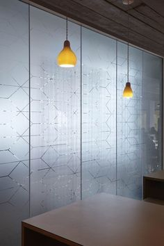 Semi-translucent glass by light geometric printed motifs - ASOS Headquarters by MoreySmith Glass Film Design, Frosted Glass Design, Glass Sticker Design, Corporate Interiors, Office Interiors, Corporate Offices, Frosted Glass Sticker, Frosted Window, Window Glass