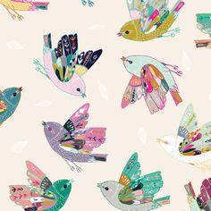Love Birds Baby Girl Fabric by the Yard Quilting Fabric Cotton Fabric Childrens Nursery Organic Cotton Knit Minky Fabric 5740265 Stoff Design, Nursing Pillow Cover, Tatoo Art, Fabric Birds, Bird Design, Surface Pattern Design, Custom Fabric, Art Images, Spoonflower