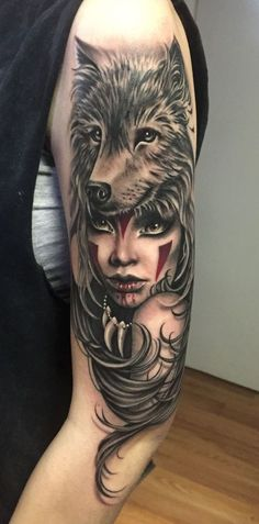Here we shared a lot of wolf tattoos. Colored best 2019 wolf tattoos, you can choose one of them for yourself. Wolf Girl Tattoos, Girly Tattoos, Head Tattoos, Feather Tattoos, Trendy Tattoos, Body Art Tattoos, Wolf Tattoos For Women, Bone Tattoos, Butterfly Tattoos