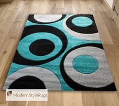 Teal Blue Black and Grey Circles Pattern Rug - Very Modern Design - In 2 Sizes