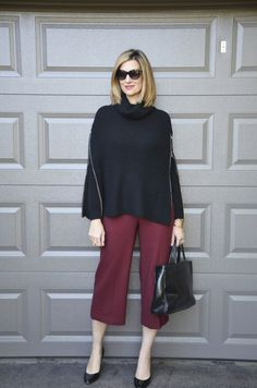 Cape & Burgunday Pants - another great use of the color burgundy, and look at this cape!