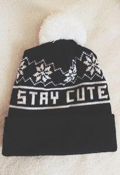 beanie !  tags; | beanie, black, stay, cute, stay cute, love, teen fashion, teen hat, teen, hipster,