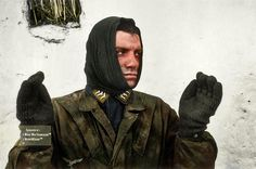 """An Obergefreiter from the fallschirmjäger (""""green Devils"""") captured by US forces. Photo taken in Bastogne, Belgium, 1944 and colorised by myself."""