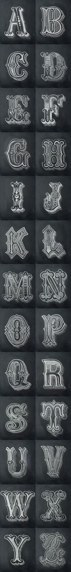 Chalk Alphabet by Antonio Rodrigues Jr #Art #Chalkboard