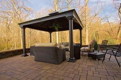 Roofed Patio Cover, Columns, Pavers Pergola and Patio Cover StoneScapes Design Hanover, MD