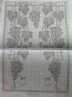 Crochet Curtains, Crochet Doilies, Filet Crochet Charts, Crochet Home, Grape Vines, Needlepoint, Crochet Patterns, Cross Stitch, Floral